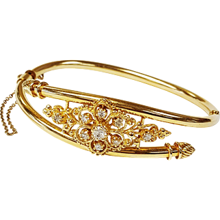 14kt Yellow Gold Floral Diamond Bangle, Circa 1960's