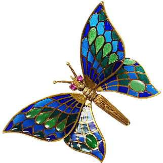14kt Yellow Gold Enameled Butterfly Brooch set with Ruby Eyes