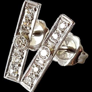 """18kt White Gold Diamond """"Baton"""" Style Studs"""
