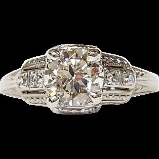 18kt White Gold Art Deco Diamond Ring, Circa 1930's