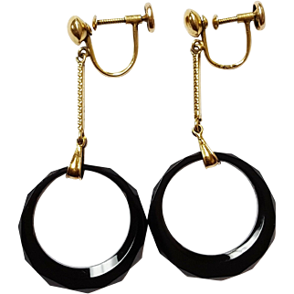 14kt Yellow Gold and Black Onyx Earrings, Circa 1880's