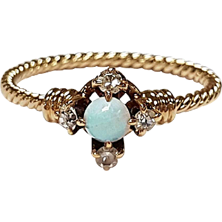 14kt Rose Gold Opal and Diamond Ring, Circa 1880's
