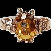 14kt Rose Gold Citrine and Diamond Flower Ring, Circa 1880