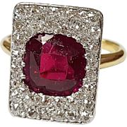 18kt Gold and Platinum Ruby and Diamond Ring, Circa 1900-1910
