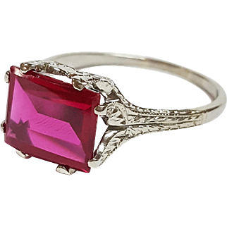 18kt White Gold Ruby Ring, Circa 1910