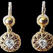 Round Cut Diamond Dangle Earrings set in 18 Karat Rose Gold, Circa 1940