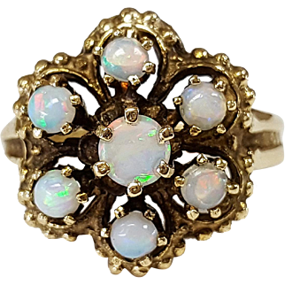 14kt Yellow Gold and Opal Flower Ring, Circa 1960's