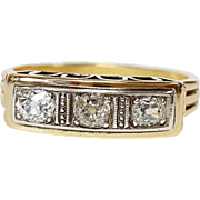 14kt Yellow Gold Old Mine cut Diamond Ring