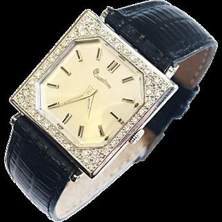 Lucien Piccard 14 Karat White Gold Unisex Diamond Watch, Circa 1955