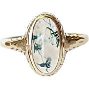 10kt Yellow Gold Moss Agate Ring