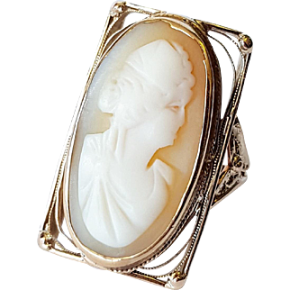 10kt Rose Gold Shell Cameo Ring