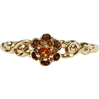 Victorian Style 14kt Yellow Gold Citrine Ring, Circa 1880