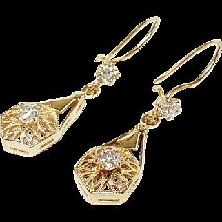 14kt Diamond Dangle Earrings, Circa 1880