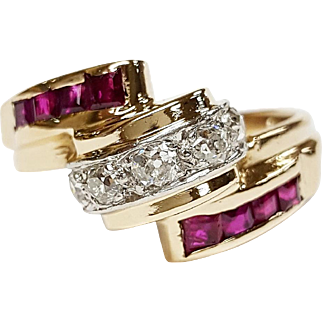 Two Tone Diamond and Ruby Ring
