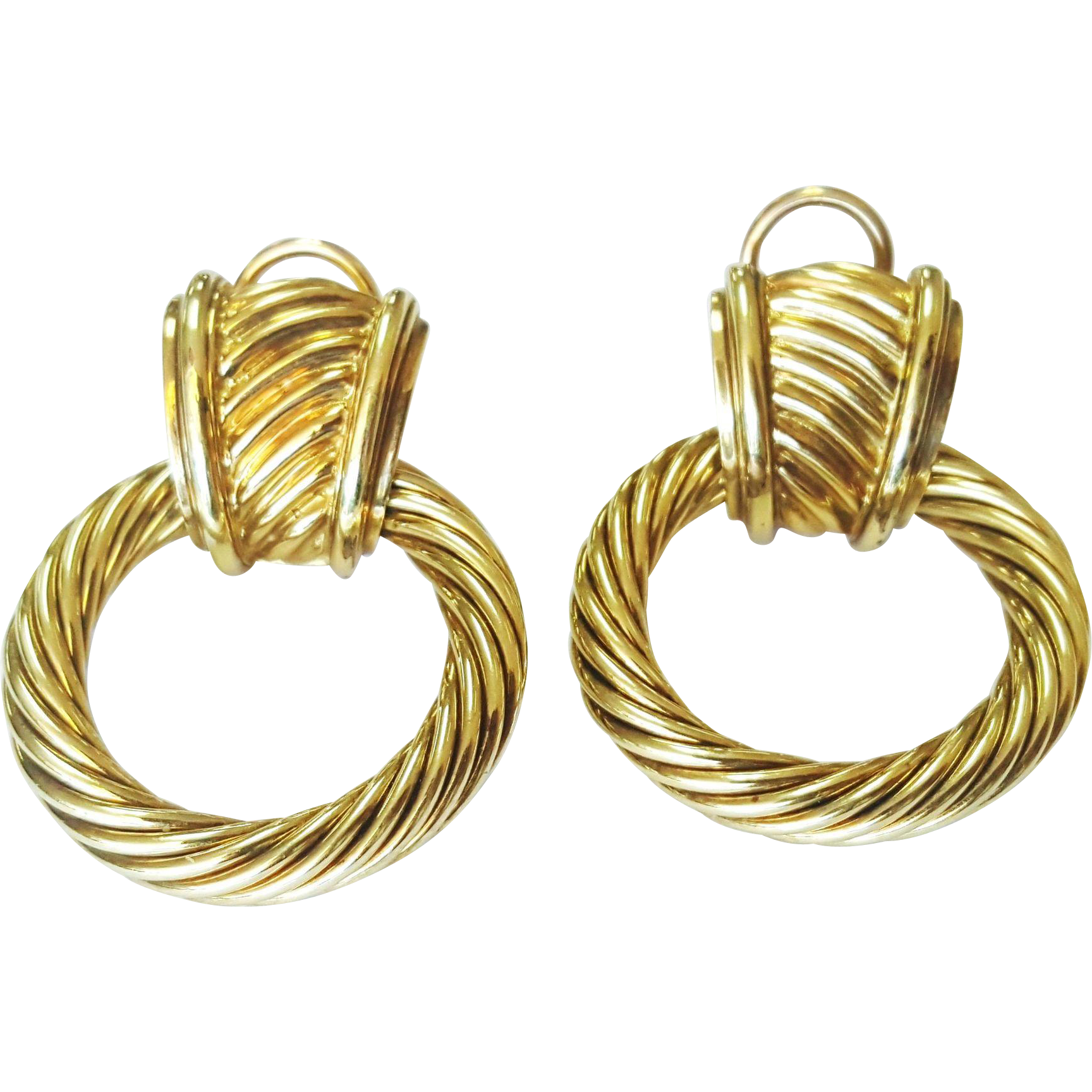 David Yurman 14 Karat Yellow Gold Door Knocker Earrings Sold Ruby Lane