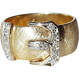 14kt Two-tone Diamond Buckle Ring
