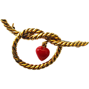 """Tiffany & Company 14 Karat Yellow Gold """"Love Knot"""" with Dangling Coral Heart Brooch"""