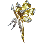 Olga Tritt 18 Karat Yellow and White Gold Diamond Floral Brooch