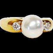 Mikimoto AAA Pearl and Diamond Ring Set in 18 Karat Yellow Gold