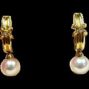 Mikimoto Grade AAA Pearl and Diamond Earrings set in 18 Karat Yellow Gold