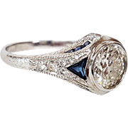 Art Deco Style, Sheldon Speyer, Platinum Diamond and Sapphire Ring