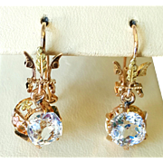 Victorian Style 14 Karat Green and Rose Gold Bi-Color Glass Earrings