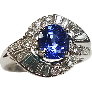 Platinum Sapphire and Diamond Ring, Circa 1950, with an Art Deco Style