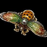 Art Nouveau 18kt Gold Diamond and Cultured Pearl Plique-à-jour Bumble Bee Brooch