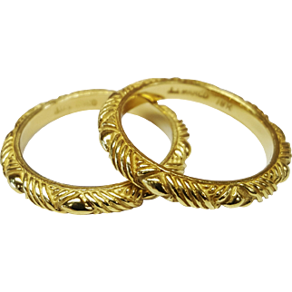 J.J. Marco 18 Karat Yellow Gold Carved Bands