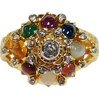 Indian Inspired 18 Karat Yellow Gold Ring, Bezel Set with Pear shaped Cabachon cut Rubies, Moonstones, Sapphire, Emerald, Garnet, Citrine and Round cut Diamonds