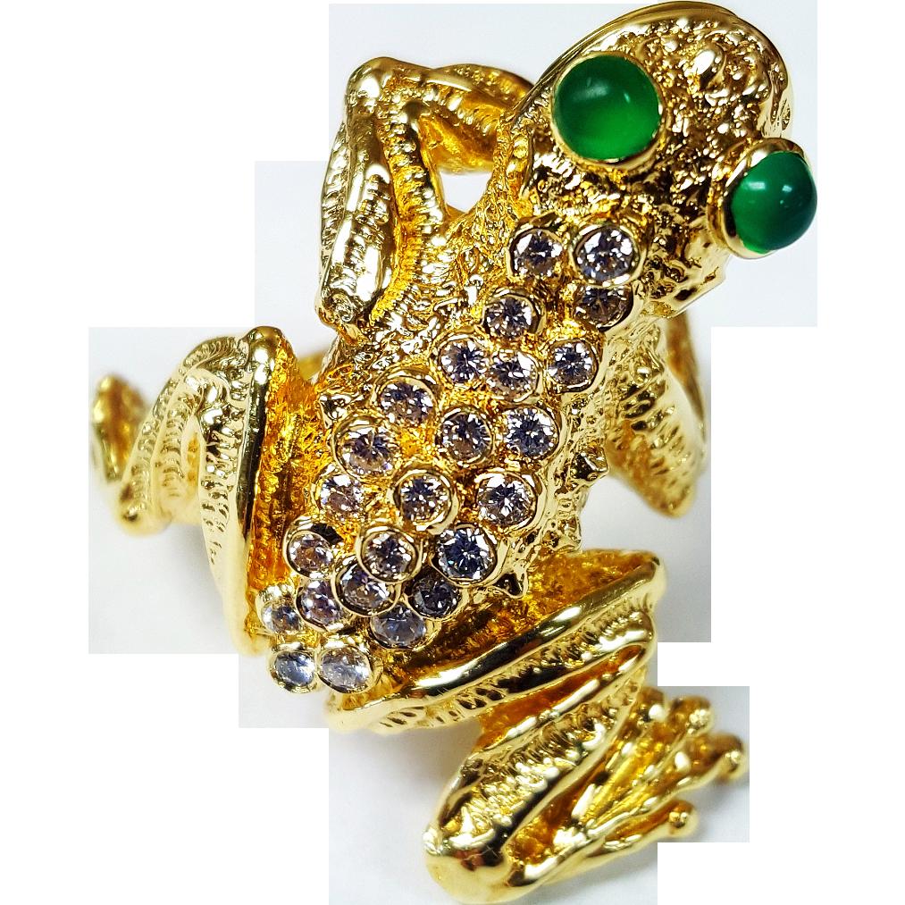 Kurt Wayne 18kt Diamond Frog Ring Krikorian Jewelers Ruby Lane