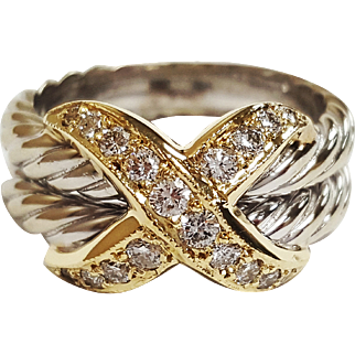 David Yurman Inspired Two-tone 14 Karat Gold Diamond Ring