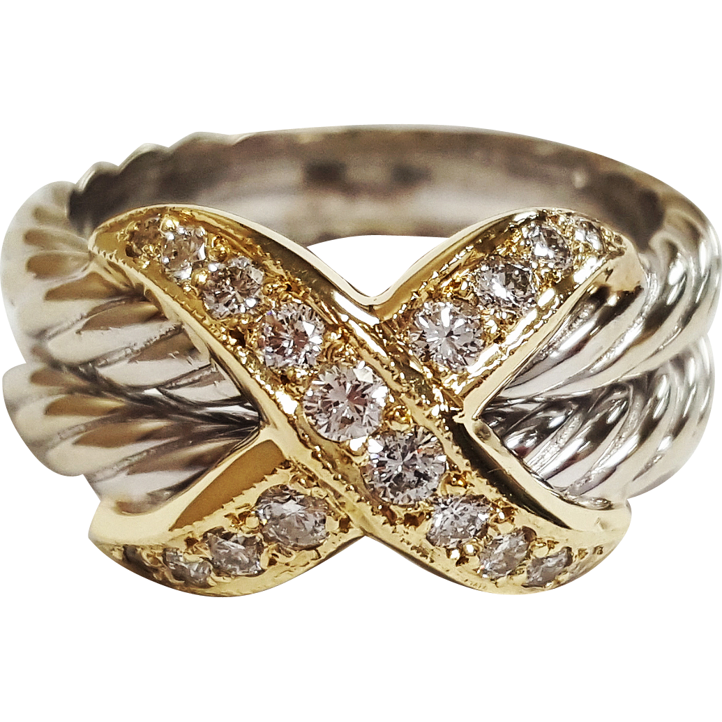 david yurman inspired two tone 14 karat gold diamond ring