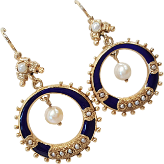 Victorian Style 14 Karat Gold Cultured/Sea Pearl Earrings with Rich Blue Enameling