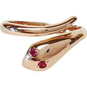 18 Karat Yellow Gold Snake Ring set with Rubies