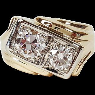 14 Karat White and Yellow Gold Double Diamond Ring, Circa 1940