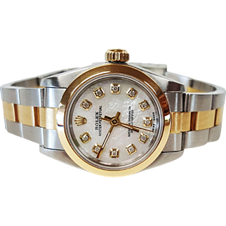 Ladies Rolex Two Tone Diamond Wrist Watch with Mother of Pearl Dial