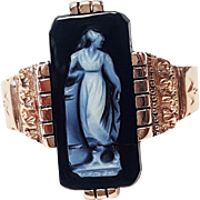 Victorian Style 14 Karat Rose Gold Carved Hard Stone Ring, Circa 1880