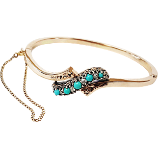 14 Karat Rose Gold and Sterling Silver Victorian Style Bangle set with Natural Turquoise and Diamonds, Circa 1880