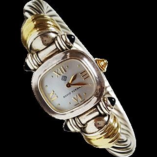 David Yurman Sterling Silver and 14 Karat Yellow Gold Wrist Watch