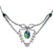 Art Deco Style Platinum Black Opal, Diamond and Emerald Necklace, Custom made Circa 1950