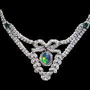 Art Deco Style Platinum Black Opal, Diamond and Emerald Necklace, Custom made Circa 1950