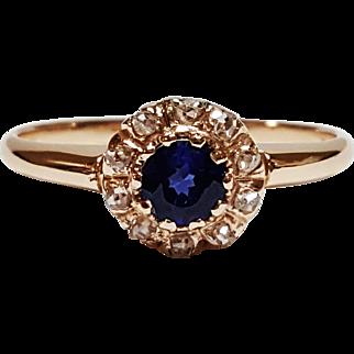 Victorian Style 12 Karat Rose Gold Sapphire and Diamond Ring, Circa 1860