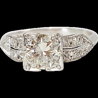 Art Deco Style Platinum Diamond Ring, Circa 1950's