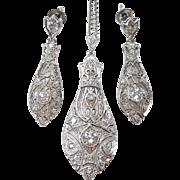 Edwardian Platinum Diamond Earring and Pendant Set, Circa 1910
