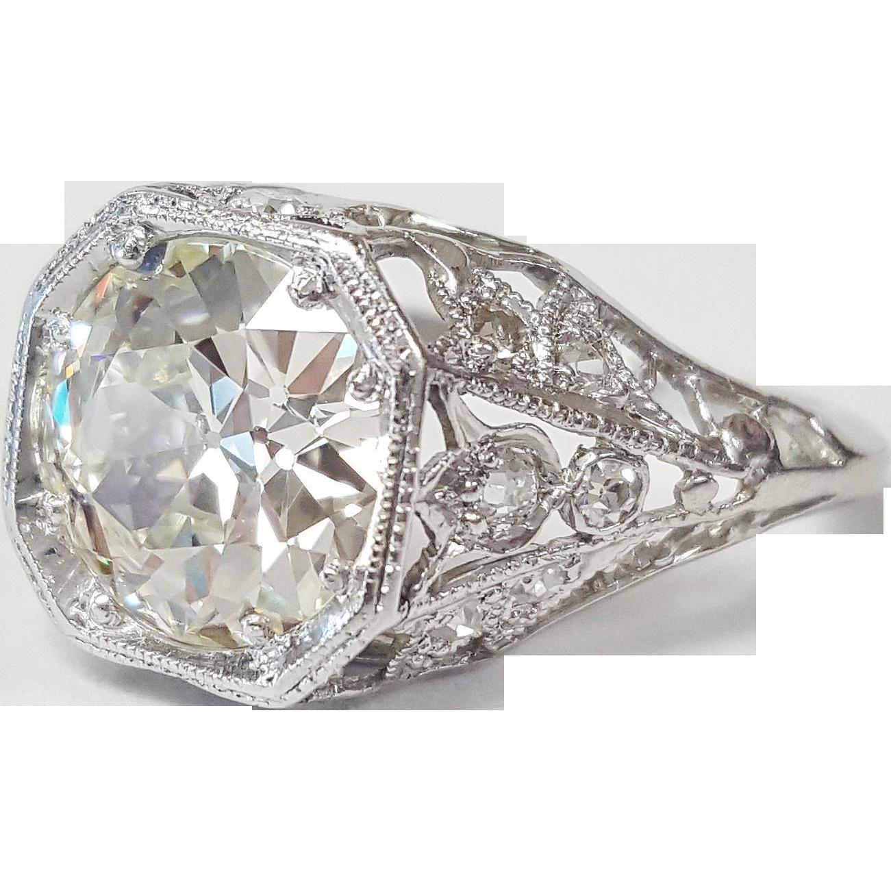 Furniture Repair Rochester Ny Edwardian Platinum Diamond Ring from krikorian-jewelers on Ruby Lane