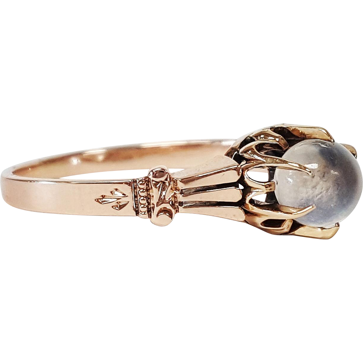 victorian style 14 karat rose gold and moonstone ring
