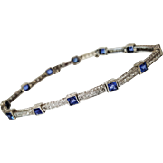 Art Deco Style Platinum Sapphire and Diamond Bracelet, Circa 1930