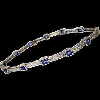 Art Deco Style Platinum Sapphire and Diamond Bracelet, Circa 1930