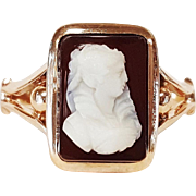 Victorian Style Hand Carved Hard Stone Ring, Circa 1880